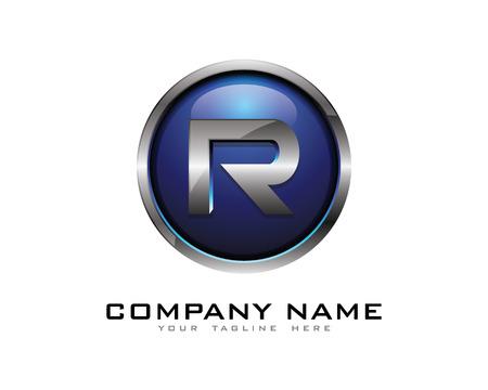 Letter R 3D Chrome Circle Logo Design Template