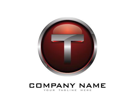 chrome: Letter T 3D Chrome Circle Logo Design Template Illustration