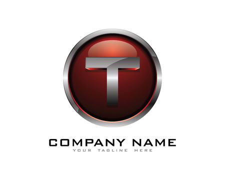 Letter T 3D chroom cirkel Logo Design Template
