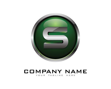 Letter S 3D Chrome cirkel Logo ontwerpsjabloon