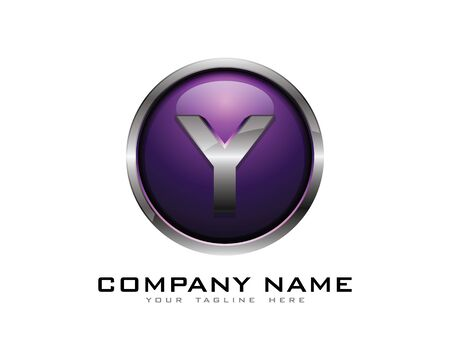 Letter Y 3D Chrome cirkel Logo ontwerpsjabloon Stock Illustratie