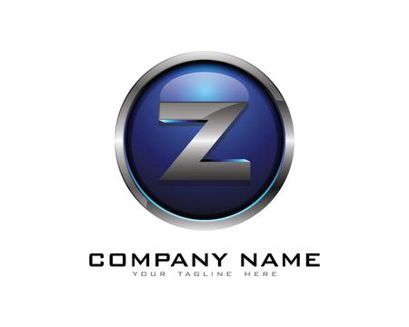 Letter Z 3D Chrome cirkel Logo ontwerpsjabloon