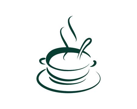 Hot Soup Icon Logo Design Element