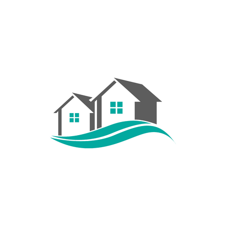 House Lake Icon Logo Design Element