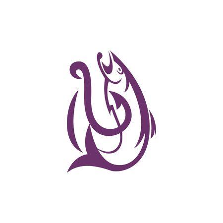 fishhook: Fishing Hook Icon Logo Design Element Illustration