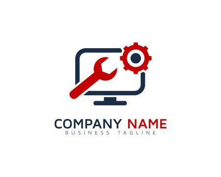 컴퓨터 수리 서비스 로고 디자인 템플릿