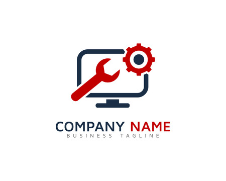 Modèle de conception de logo du service de réparation d'ordinateur