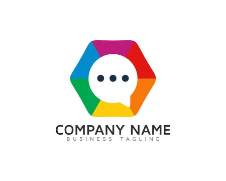Color Hexa Chat Logo Design Template Illustration