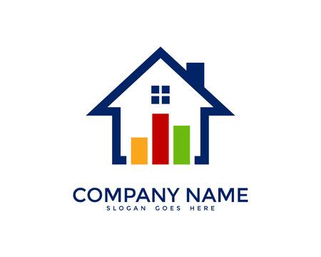 metrics: Market House Stats Logo Design Template Illustration