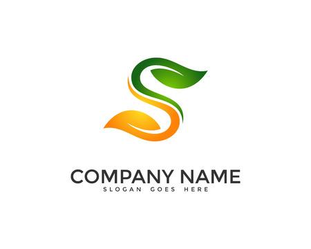 Letter S Leaf Logo Design Template Illustration