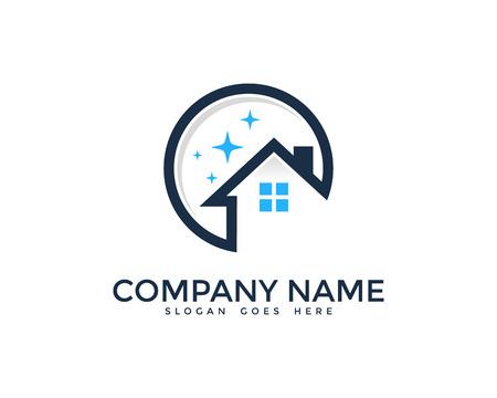 Hausreinigung Service Logo-Design-Vorlage Logo