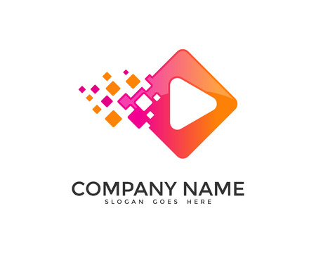 digital media: Digital Pixel Play Media Logo Design Template