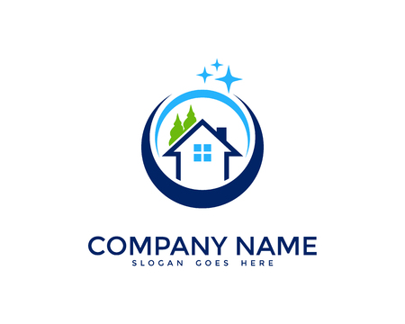 House Cleaning Logo Design Template 矢量图像