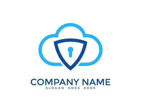 security logo: Cloud Network Security Logo Design Template
