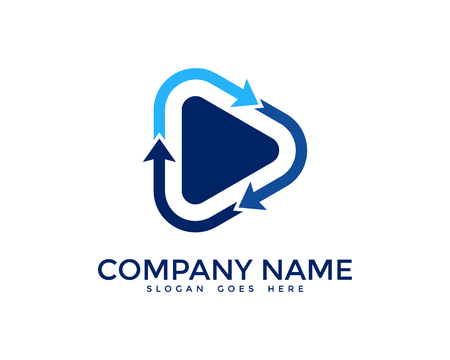 Media Video Loop Logo Design Template Illustration