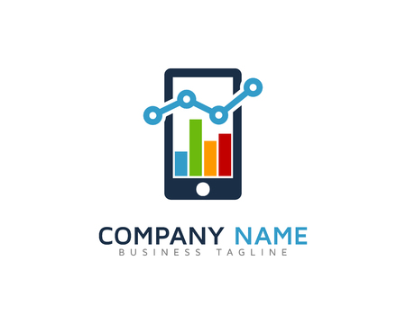 Mobile Stats Marketing Logo Design Template