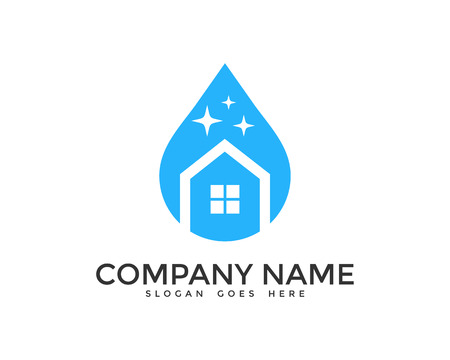Home Cleaning Logo Design  イラスト・ベクター素材