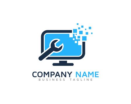 Digitale Pixel Computer Reparatie Logo ontwerpsjabloon