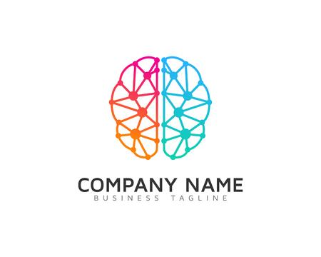 デジタル脳ロゴ デザイン テンプレート