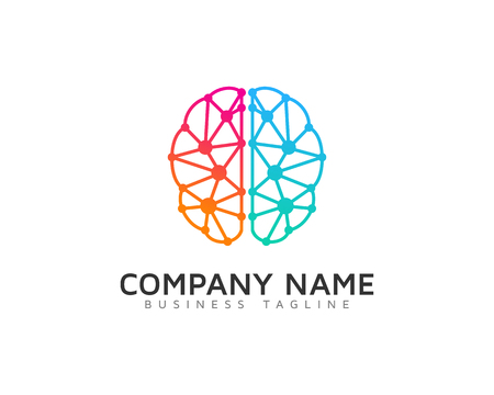 Digital Brain Logo Design Template Illustration