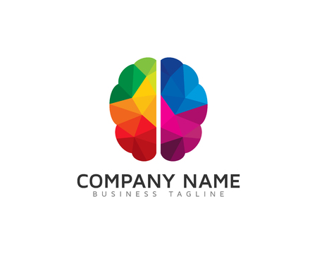 Creative Poly Color Brain Logo Design Template Illustration