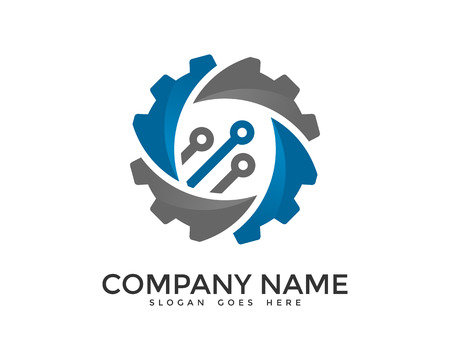 Data Digital Gear Network Logo Design Template Ilustração