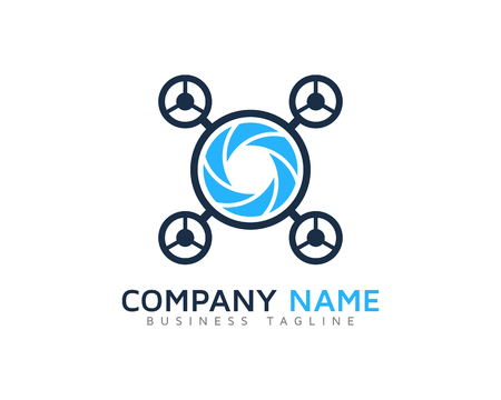 Drone Camera Logo Design Template Иллюстрация