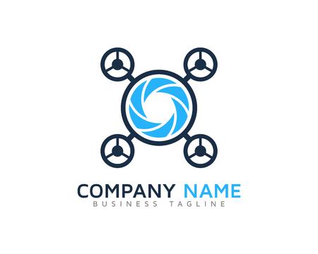 Drone Camera Logo Design Template Illustration