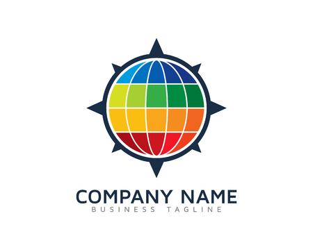 Color World Compass Logo Design Template 일러스트