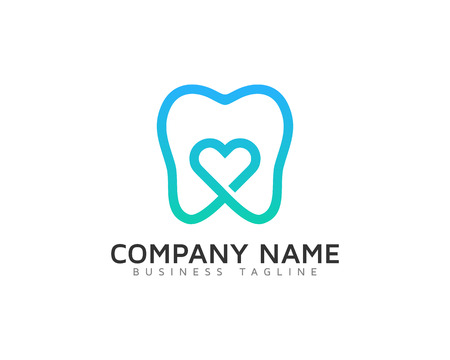 Dental Love Logo Design Temp Ilustracja