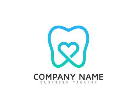 Dental Love Logo Design Temp Ilustração