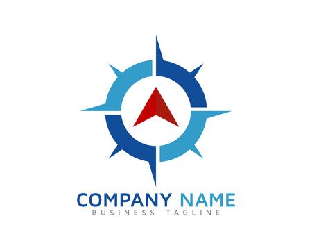Wereldreis kompas Logo ontwerpsjabloon Stock Illustratie