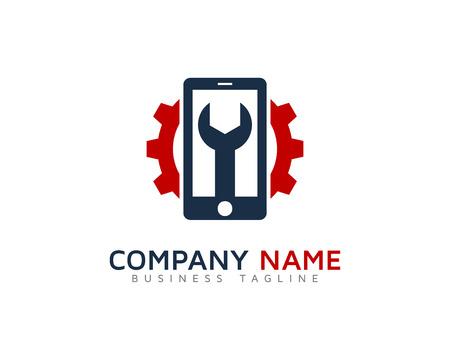 携帯電話修理のロゴのデザイン テンプレート  イラスト・ベクター素材