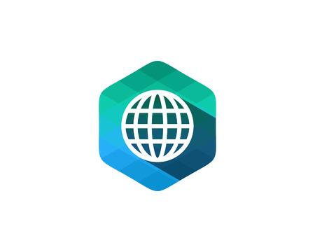 design: Globe Color Pixel Shadow Logo Design Element