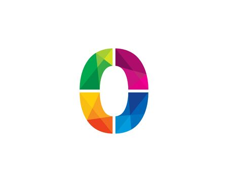 Number  0 Color Poly Logo Design