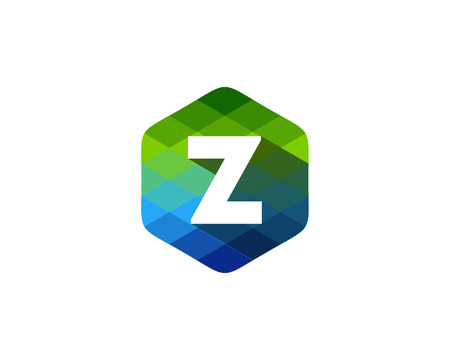 Z Letter Color Pixel Shadow Logo Design Element