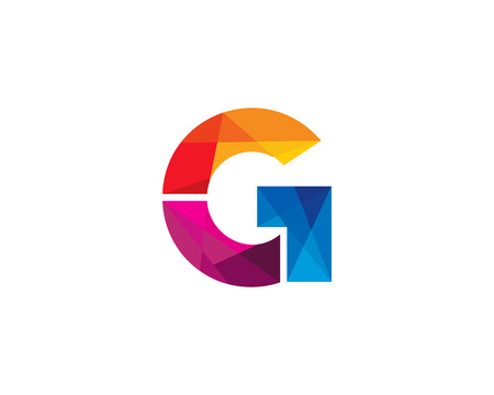 Letter G Color Poly Logo Design Illustration