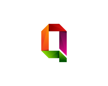 q: Q Letter Color Ribbon Logo Design Element