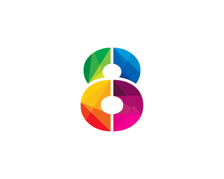 Number 8 Color Poly Logo Design Illustration