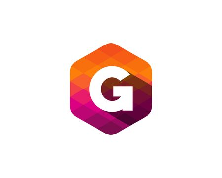 G Letter Color Pixel Shadow Logo Design Element
