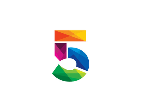 Number 5 Color Poly Logo Design Illustration