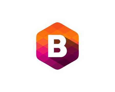 B Letter Color Pixel Shadow Logo Design Element