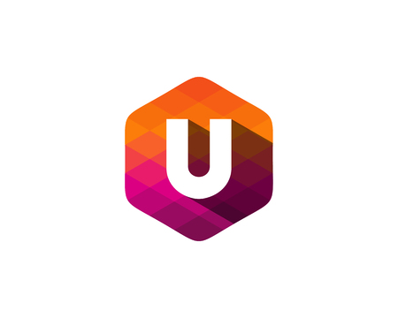 U Letter Color Pixel Shadow Logo Design Element