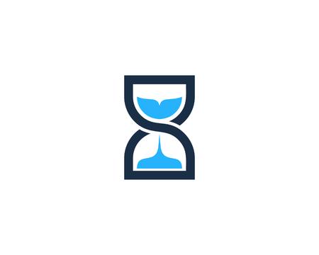 인피니티 시간 시간 유리 로고 디자인 템플릿 일러스트