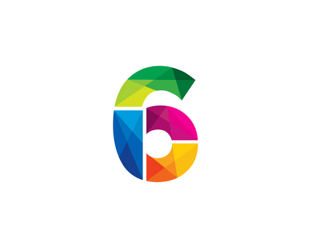 Number 6 Color Poly Logo Design Illustration