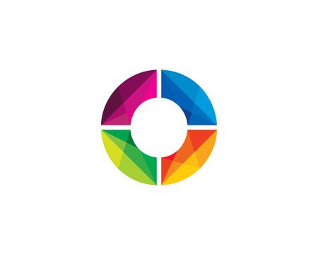Letter O Color Poly Logo Design Illustration