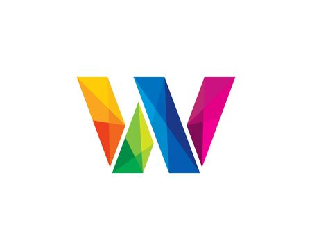 Letter W Color Poly Logo Design