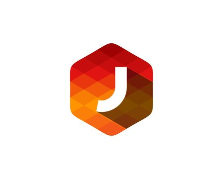 J Letter Color Pixel Shadow Logo Design Element Illustration