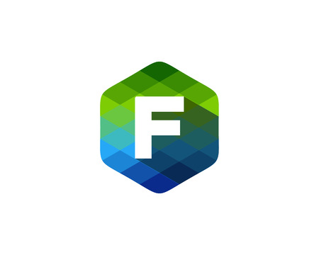 F Letter Color Pixel Shadow Logo Design Element