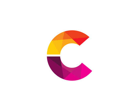 Letter C Color Poly Logo Design Illustration